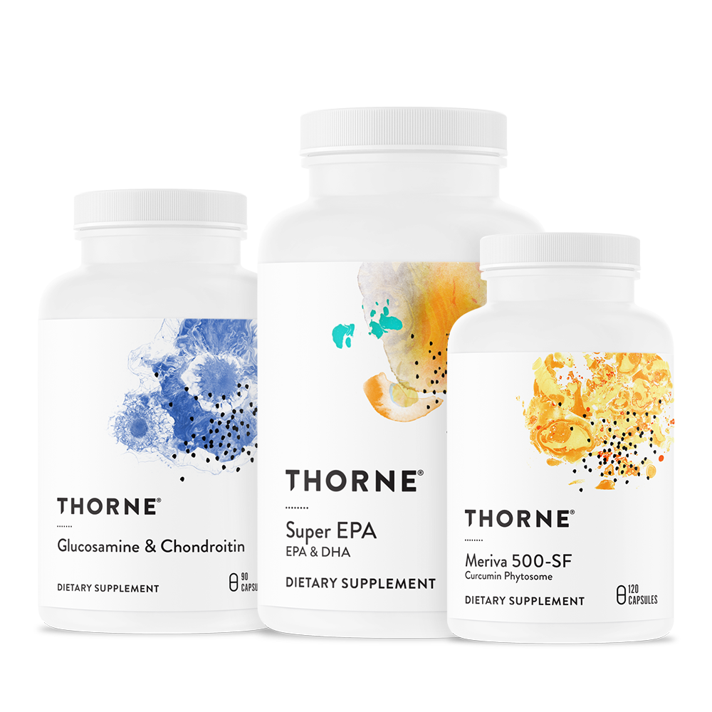 Thornes Joint Health Bundle supports joint strength and resiliency with glucosamine, chondroitin, curcumin, and omega-3 fish oil.* All three products are NSF Certified for Sport.