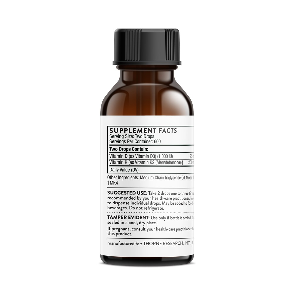 Vitamin D K2 Liquid Supports Healthy Bones And Muscles As Well As The Cardiovascular And Immune Systems Thorne